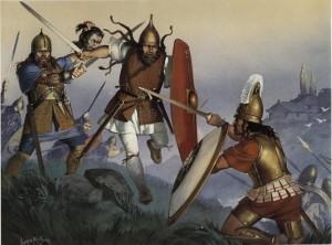 бой на мечах голяда и римлянина